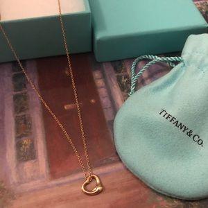 Tiffany & Co Rose Gold Open Heart Pendant + Chain